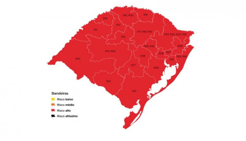 Pela primeira vez, todas as 21 regiões Covid estão em bandeira vermelha no mapa preliminar