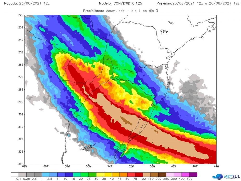 Ir para  <p><big>A MetSul Meteorologia alerta para um epis&oacute;dio de chuva muito volumosa em parte do Rio Grande do Sul at&eacute; a quinta-feira. O alerta &eacute; um refor&ccedil;o aos avisos que a MetSul tem feito desde...